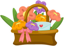 basket of flowers with love letter Royalty Free Stock Image