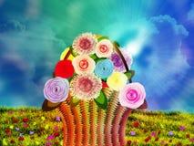 Basket of flowers on meadow stock illustration
