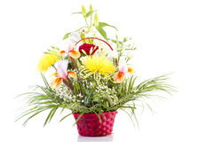 Basket with flowers for mother Stock Images