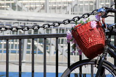 Basket and flowers on old bicycle Stock Photography