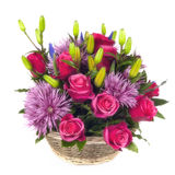 Basket of Flowers over White Royalty Free Stock Images