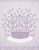 Basket of flowers with placeholder for text. (good for greeting card). Vector illustration Stock Image