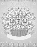 Basket of flowers with placeholder for text. (good for greeting card). Vector illustration Royalty Free Stock Image