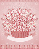 Basket of flowers with placeholder for text. (good for greeting card). Vector illustration Royalty Free Stock Photo