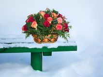 Basket of flowers on the snow Royalty Free Stock Photo