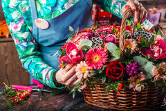 Basket of flowers. stock photo