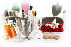Basket of flowers on a table  Royalty Free Stock Photos