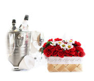 Basket of flowers on a table  Stock Image