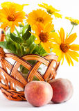Basket of flowers and two ripe peaches Stock Images
