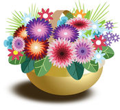 Basket with flowers. Vector basket with flowers. pattern for use on site or congratulations Royalty Free Stock Photo