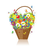 Basket with flowers for your design royalty free illustration