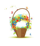 Basket with flowers for your design Stock Images