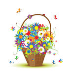 Basket with flowers for your design Stock Photo