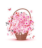 Basket with flowers for your design Stock Photography