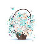 Basket with flowers for your design Royalty Free Stock Photography