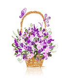 Basket with flowers for your design Royalty Free Stock Photo