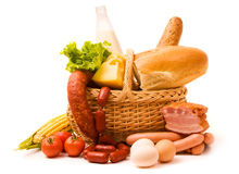 Basket with food Stock Image