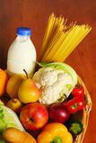 Basket with food royalty free stock images