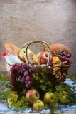 Basket with food Stock Photos
