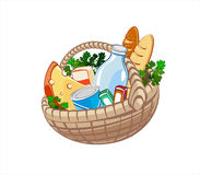 Basket with food. Wicker basket with dairy products, bake and other food vector illustration