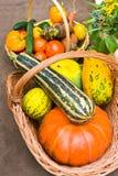 Basket with food stock photos