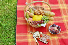 Basket with Food Fruit Bakery Picnic Royalty Free Stock Photos