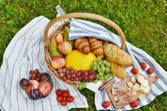 Basket with Food Fruit Bakery Picnic Stock Photos