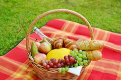 Basket with Food Fruit Bakery Picnic Stock Images