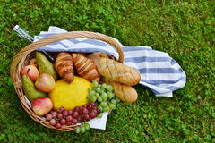 Basket with Food Fruit Bakery Picnic Royalty Free Stock Photography