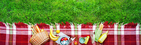 Basket Food Fruit Check Plaid Picnic Background Stock Photo