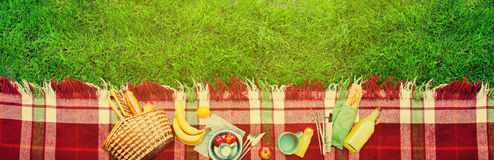 Basket Food Fruit Check Plaid Picnic Background Stock Images
