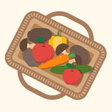 Basket with food, fruits and vegetables. Stock Photo