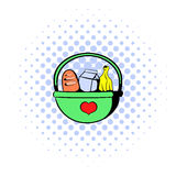 Basket with food icon, comics style Royalty Free Stock Photos