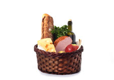 Basket with food for a picnic Royalty Free Stock Photography