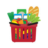 Basket with food. Shopping in the store. Stock Photo