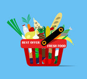 Basket with foods Stock Photos