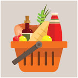Basket with foods Royalty Free Stock Image