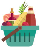 Basket with foods Royalty Free Stock Photography