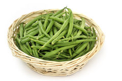 Basket of french beans Stock Photo