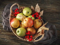 Basket with fresh apples and pears on a wooden table. Autumn background. Stock Photo