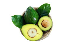Basket of fresh avocado fruits on white background. stock photography