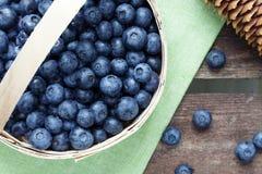 Basket of fresh blueberries Stock Image