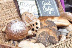Basket with fresh bread. A basket containing different kinds of freshly baked bread Royalty Free Stock Image