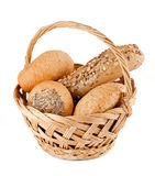 Basket with fresh bread. Basket with various fresh baked bread Stock Image