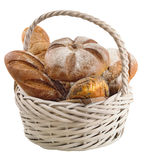 Basket with fresh bread on a white background.  stock photos