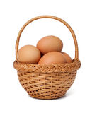 Basket with fresh brown eggs Stock Photography