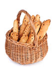 Basket with fresh buns. Onion buns in a basket. Isolated over white Royalty Free Stock Photo