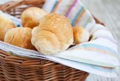 Basket of fresh croissant Stock Photo