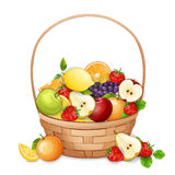 Basket with fresh,delicious fruits. Stock Photos