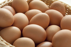 Basket with fresh eggs Royalty Free Stock Photo
